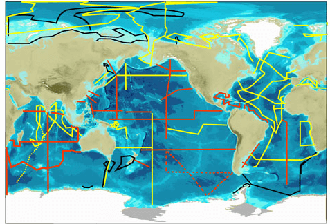 Map of GEOTRACES legs during sea campaigns for the measurement of geochemical elements