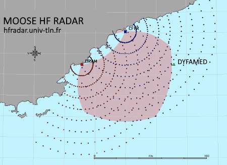 HF radar coverage along the Mediterranean coast.