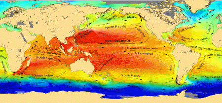Major ocean currents superimposed on the mean dynamic topography.