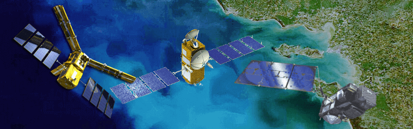 [Translate to English:] Satellites SMOS Jason-3 Sentinel-3